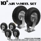 "New 4PCS 10"" Air Tire Pneumatic 2 Swivel Caster 2Rigid Wheels Cart Industrial HD"