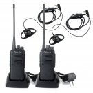 2x Retevis RT1 10W Walkie Talkie UHF 16CH 3600mAh 2-Way Radio 2x Earpiece