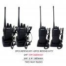 2x Retevis H777 5W 16CH UHF 2-way Radio+2x Retevis RT1 10W 16CH Two Way Radio