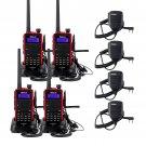 4x Retevis RT5 Portable 128CH Walkie Talkie VHF/UHF FM 2 Way Radio+4x PTT Mic