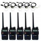 5x Retevis RT-5R VHF/UHF 5W 128CH FM Two Way Radio+ 5x Speaker Mic