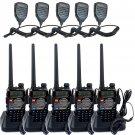 5x Retevis RT-5RV Walkie Talkie VHF/UHF 5W 128CH FM Two Way Radio+ 5x PTT Mic