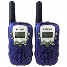 2x Retevis T-388 Blue Kids Walkie Talkie UHF LCD Display+Flashlight 2-Way Radio
