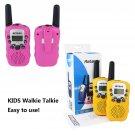 4x Retevis RT-388 Kids Walkie Talkie Yellow/Pink 22CH UHF LCD+Flashlight