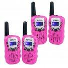 4x Pink Walkie Talkie Retevis RT-388 UHF 0.5W 22CH VOX Flashlight For Kids