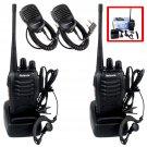 2x Retevis H777 Walkie Talkie VOX UHF 5W 16CH Two Way Radio + 2x Mini PTT Mic