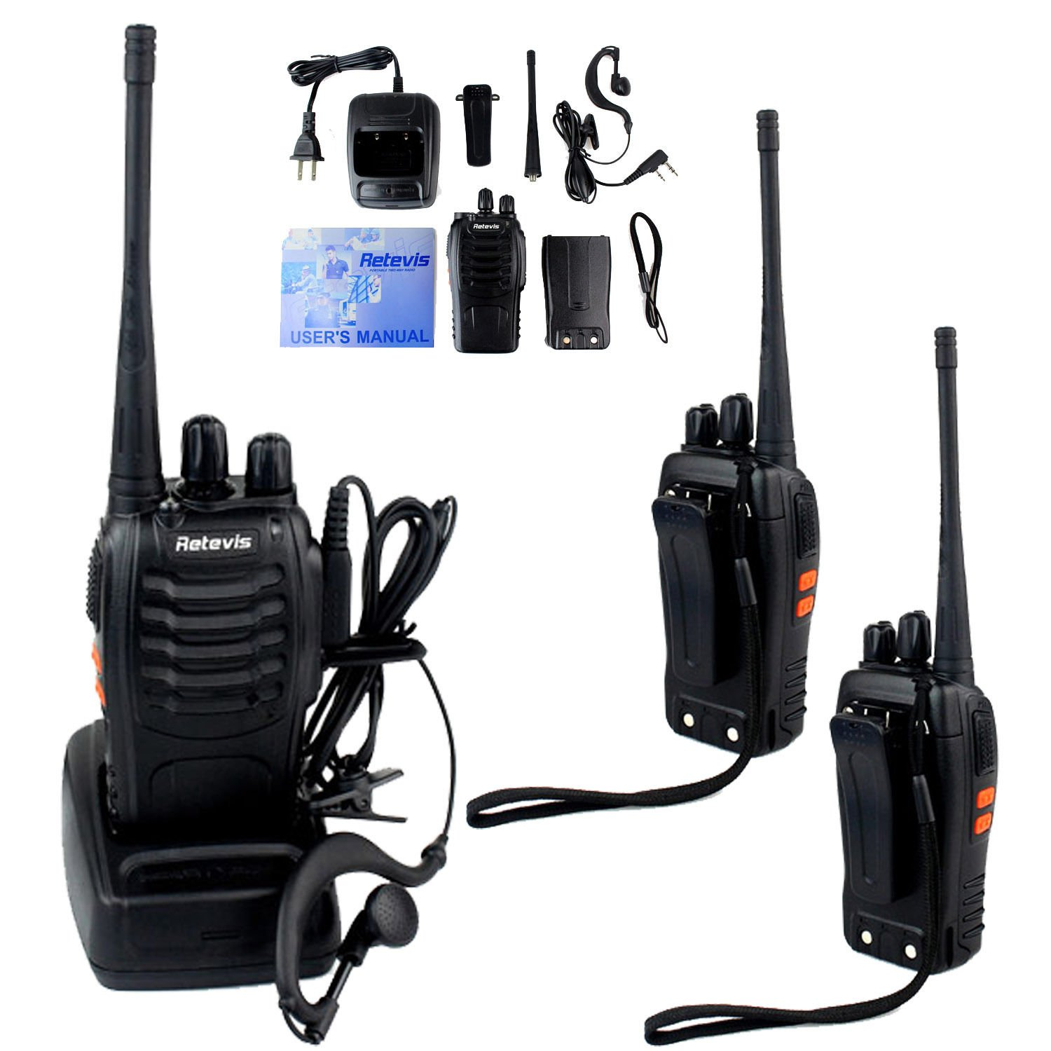 3x Retevis H777 Walkie Talkie CTCSS/DCS UHF 5W 16CH 2-Way Radio,Earpiece
