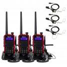 3x Retevis RT5 Walkie Talkie UHF+VHF 8W 128CH 2-Way FM Radio+3x Earpiece