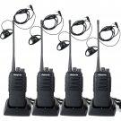 4x Retevis RT1 Walkie Talkie 3600mAh UHF 10W 2-Way Radio+ 4x D-Shape Earpiece