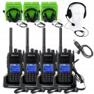 4xRetevis DMR 2way Radio RT3 UHF 5W 1000Ch WalkieTalkie+4×Headset earpiece+Cable