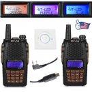 2x Baofeng UV-6R V/UHF Dual-Band Two-way Ham Radio Walkie Talkie + USB Cable