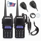 2x Baofeng UV-82L 2M/70cm V/UHF Dual PTT Ham Two-way Radio +2x speaker +1x Cable