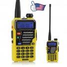 2x Baofeng UV-5R Plus Yellow V/UHF Dual Band Two-way Ham Radio Walkie Talkie
