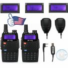 2x Baofeng F9+TP V/UHF Tri-Power 8W FM Ham Two-Way HP Radio 2 Speaker Cable&CD