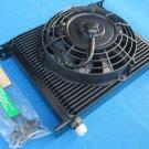 Universal 30 Row 10 AN Black Transmission Oil Cooler + fan SUBARU 3000GT WRX STI