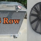 3ROW for 1932 FORD HI-BOY Grill Shells CHEVY ENGINE Aluminum Radiator 16''FAN