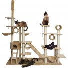 "New 96"" Tan White Cat Tree Play Tower Condo Scratch Post Rope Basket Swing House Gym"