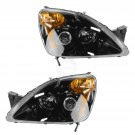 Headlight Black Bezel Performance Projector Style RH LH Pair Set for 02-04 CR-V