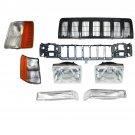 New Grille Headlight Header Panel Parking Corner Light Set for 97-98 Grand Cherokee