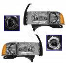 Headlights Headlamps w/Corner Light Pair Set for 99-02 Ram Sport Truck