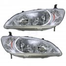 Front Headlights Headlamps Lights Lamps LH & RH Pair Set for 04-05 Honda Civic