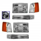 New Headlights & Parking Corner Lights Left/Right Pair Set for 93-96 Grand Cherokee
