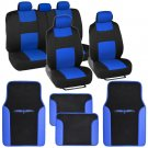 Car Seat Covers Set Black and Blue with PU Leather Trim Carpet Floor Mats Pads