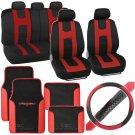 Rome Sport 14 Pc Set  2 Tone Black Red Car Seat Cover, Mat & Steering Cover