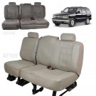 Beige Tan PU Leather Bench Seat Covers for Chevy Silverado Crew Cab 99-06