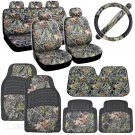 HAWG CAMO Full Set for Auto Car Seat Covers Rubber Mats Steering Cover Sun Shade