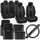 Rome Sport 14 Pc Set - 2 Tone Black  Charcoal Seat Cover, Mat & Steering Cover