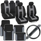 Rome Sport 14 Pc Set - 2 Tone Black / Gray Car Seat Cover, Mat & Steering Cover