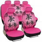 Pink Car Seat Cover Front Rear Full Set Auto Accessory Universal Fit