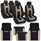 OEM Seat Cover for Car Rome Sport Racing Style Stripes Black Beige w Vinyl Mats