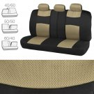 9 Pc Seat Cover Split Bench Mat Combo Beige Mesh Seat With 4 Pc Black Carpet