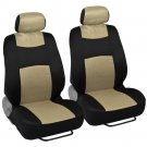 9 Pc Sporty Mesh Cloth Beige Black Seat Cover and 4 Pc Solid Beige Carpet Mats