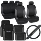 Bucatti 14 Pc Set - 2 Tone Black / Charcoal Car Seat Cover, Mat & Steering Cover