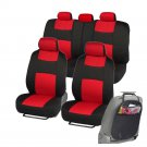 Car Seat Covers Red Fit for Sedan SUV Rome Sport w/ Organizer Kick Mat