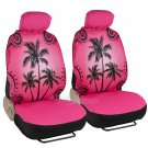9 Pc Car Seat Cover Pink Palm Trees 4 Pc Matching Carpet Mat Interior Set