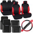 Bucatti 14 Pc Set - Two Tone Black / Red Car Seat Cover, Mat & Steering Cover