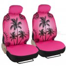 Complete Pink Palm Trees Print Front and Rear Set Car Seat Covers and Mats