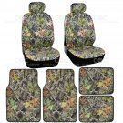 4 pc Camo Car Seat Cover and 4 pc Camo Carpet Floor Mats for Auto Van SUV Truck