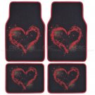 9 Pc Car Seat Cover Brushed Hearts and 4 Pc Matching Carpet Mat Interior Set