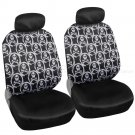 Complete Monogram Skull Print Front and Rear Set Car Seat Covers and Mats