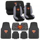 Superman Low Back Seat Covers Carpet Floor Mats Auto Shade - 14 Piece Set