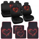 Complete Brushed Hearts Print Front and Rear Set Car Seat Covers and Mats