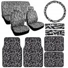 White Lightning Line Design Car Seat Covers & 4 Piece White Lightning Floor Mat