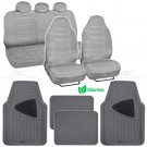 Voyager Seat Cover 9 Pc Scottsdale Fabric Gray & 4 Pc Two Tone Gray Odorless Mat