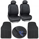 PU Leather Low Back Bucket Seat Cover and 2 Piece Black Odorless HD Floor Mats