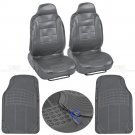 PU Leather High Back Bucket Seat Cover and 2 Piece Gray Odorless HD Floor Mats